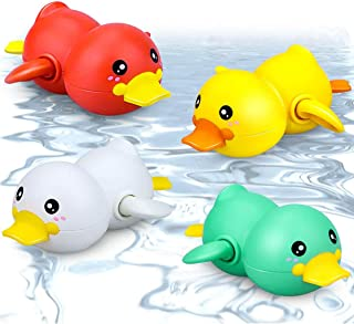Candeer Bath Toys, Squeak Rubber Duck Ducky Toy, 4 Pcs Bath Toys Set Babies 6-12 months for Bathtub, Swimming Pool