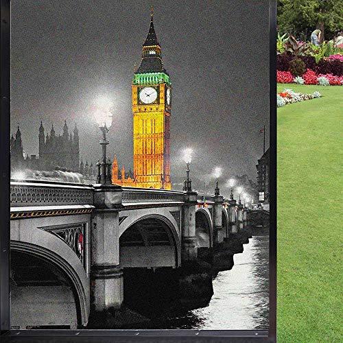 London - Película antideslumbrante para ventanas (60 x 90 cm), color gris y amarillo