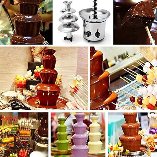 luckything chocoladefontein, elektrisch, klein, roestvrij staal, chocoladefontein, 170 watt, chocoladefontein met Engelse handleiding, voor elke chocolade en karamel, met smelt-en vloeifunctie amiabel