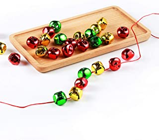 1 Inch Jingle Bells, 60 Pack, For Craft Festival Decoration with 65 Foot Red Cord