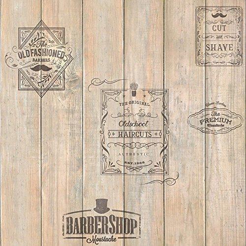 Muriva 579627 Houten Barber Winkel Behang, Meerkleurig, Set van 12 stuks