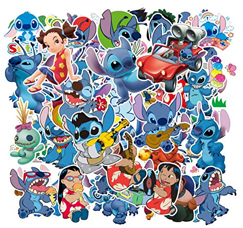 55 Pcs Stickers for Lilo&Stitch, Cute Cool Anime Laptop Stickers for Girls Boys Teens Kids, Anime Carton Stickers for Water Bottle Computer Pad Phone Case Hydro Bottle Car Bumper Bike Anime Stickers