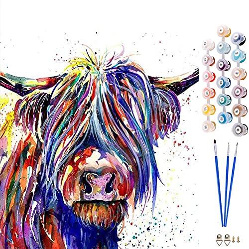 HitTopss DIY ölgemälde Malen Nach Zahlen-Vorgedruckt Leinwand-Ölgemälde Geschenk für Erwachsene Kinder Kits Home Haus Dekor, Bunter Kuh 40x50 cm