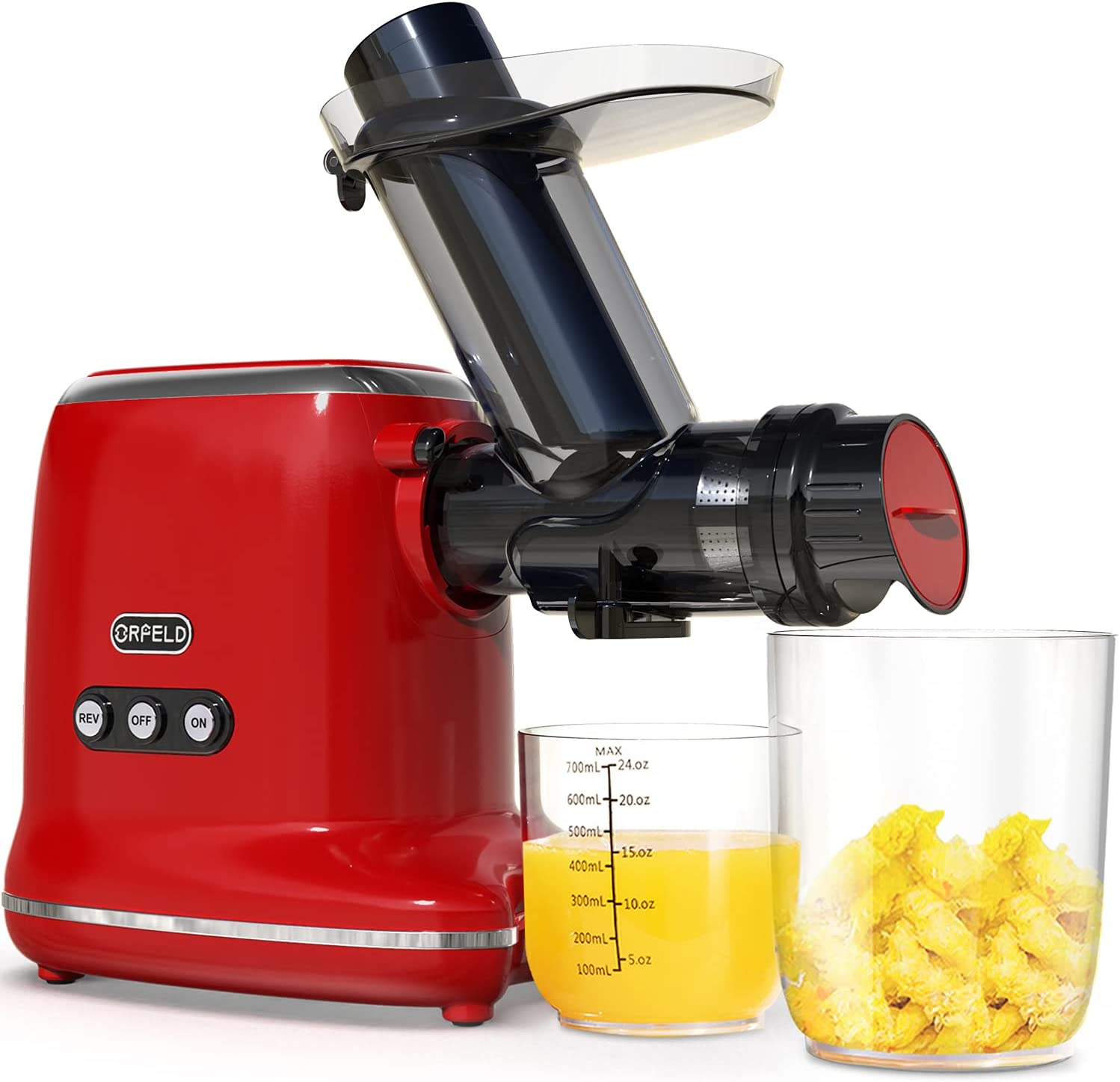 ORFELD Juicer Machines, Slow Masticating Juicer Extractor Easy to Clean, Quiet Motor & Reverse Function, Cold Press Juicer with Brush, Juice Recipes for Vegetables and Fruits, Classic Black