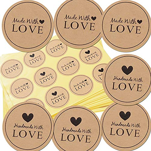 600pcs Etiqueta Adhesiva Pegatina Kraft para Sello Scrapbooking Regalo Bolsa Jabón Recuerdo Boda Fiesta Aniversario Cumpleaños (3.8 * 3.8cm) (Hand made With Love)