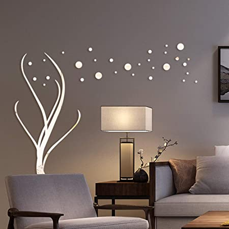 28Pcs 3D Acrylic Wall Panel Decal Mirror Sticker Wall Stickers Decal Decoration