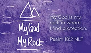 Children's Christian Pass Along Pocket Scripture Cards - God is My Rock | Psalm 18:2 | Pack of 25