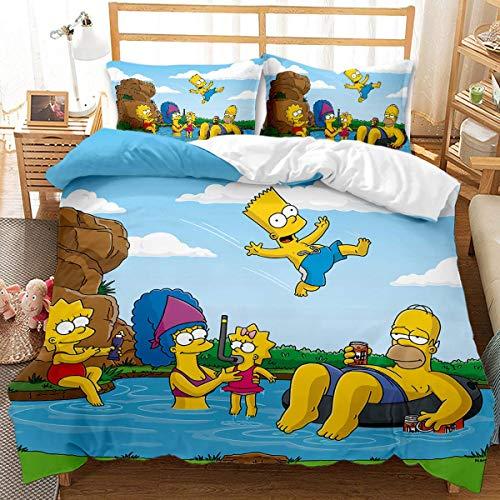 QWAS Juego de cama infantil con impresión digital 3D, 3 piezas (S2,200 x 200 cm + 50 x 75 cm x 2)