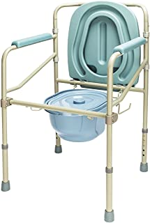 Mefeir Commode Toilet Potty Chair Steel 330LBS, FDA Medical Folding Supply with Safety Frame Rails Bedside, for Senior with Commode Bucket 3 In1 Upgraded (330LBS)