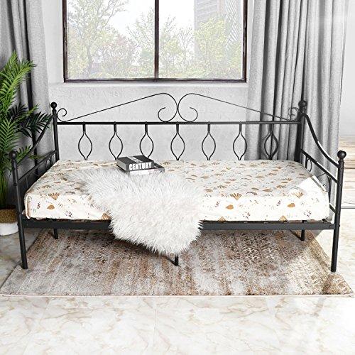 Aingoo Tagesbett Metallbett mit Bettrahmen für Schlafzimmer Wohnzimmer (Schwarz)