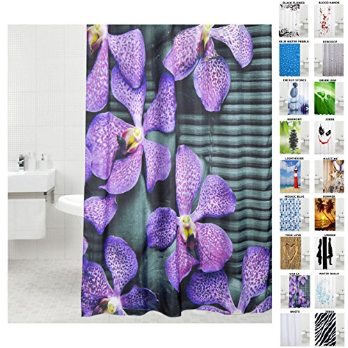 Duschvorhang, viele schöne Duschvorhänge zur Auswahl, hochwertige Qualität, inkl. 12 Ringe, wasserdicht, Anti-Schimmel-Effekt (180 x 200 cm, Vanda)