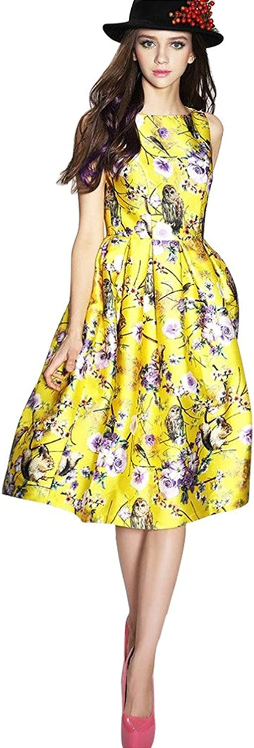 Buenos Ninos Women's Sleeveless Flower Printed Vintage Cocktail Flare Dresses