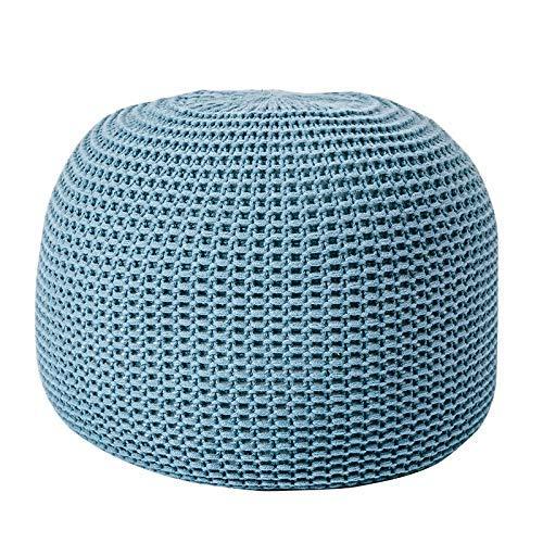 YANGAHO-Silla de rodillas taburete- Taburetes / Reposapiés Natural Punto de punto Pouffe Footscool Frijol 100% algodón para sala de estar Niños o ancianos (Color: Azul, Tamaño: 44 * 33cm) OUZHZDJD-5