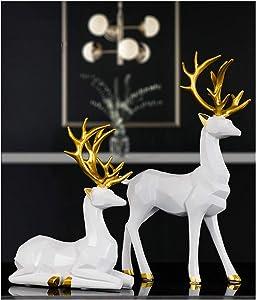 2pcs Elk Resin Home Decor Lucky Deer Statue Luxury Style Creative Craft Reindeer Figurines for Living Room, Bedroom, Office Desktop (White)