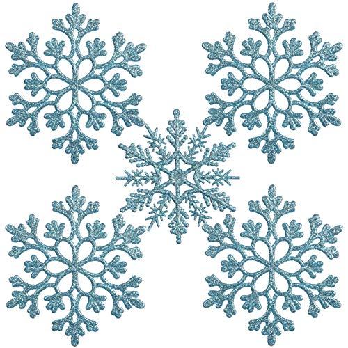 ETHEL Schneeflocken Weihnachten Deko,24 Stück Weihnachten Schneeflocken,Weihnachten Schneeflocken Anhänger, für zu Hause Weihnachten Hochzeit Urlaub Party Dekorationen (Hellblau)