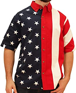 Flagshirt Men's Half Stars Half Stripes American Flag Shirt - Button-Up, Red, White & Blue,