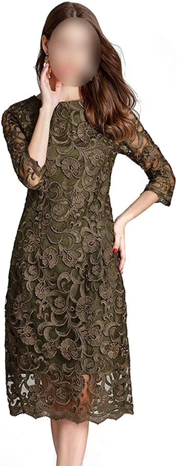 Comfortable Women's longsleeved round neck lace long dress ladies Aline dress elegant