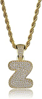 HECHUANG Simulated Diamond Iced Out Bubble Letter Pendant Rope Chain Initial Custom Name Necklace Gift Women Men