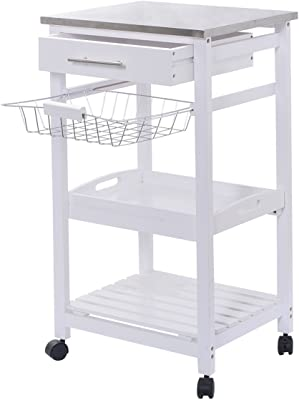 White Rolling Kitchen Island Serving Utility Cart Dining Portable Mobile Trolley Stainless Steel Top Removable Cookware