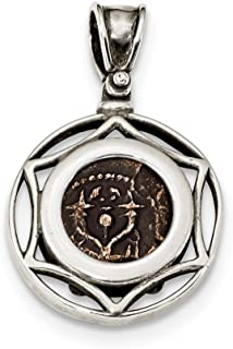 925 Sterling Silver Bronze Yehohanan Coin Pendant Charm Necklace Bezel Fine Jewelry For Women