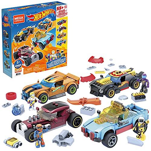 Mega Construx GVM13 - Hot Wheels Rennwagen Spielzeug-Set, Bauset mit 485 Teilen, 4 Fahrzeuge, Rally Cat, Dawgzilla, Night Shifter und Mod Rod, zum Zusammenbauen, für Kinder ab 5 Jahren