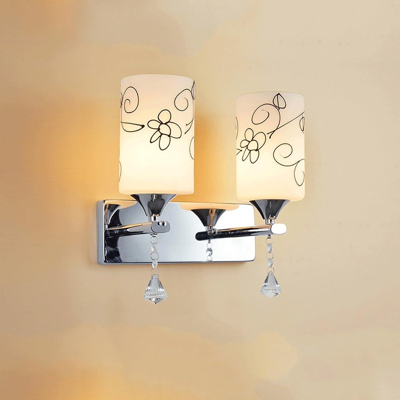 Europische Land Glas LED Wandleuchte, Moderne Minimalistische Wohnzimmer Schlafzimmer Studie Flur Mini Dekorative Wand Hngelampe (Design   2 Kpfe)