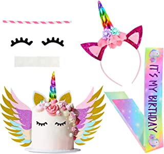 Beinou Unicorn Birthday Party Supplies Favor Set, Unicorn Cake Topper Decor, Rainbow Unicorn Headband with birthday Satin Sash for Kids' Birthday Party Favor Sets