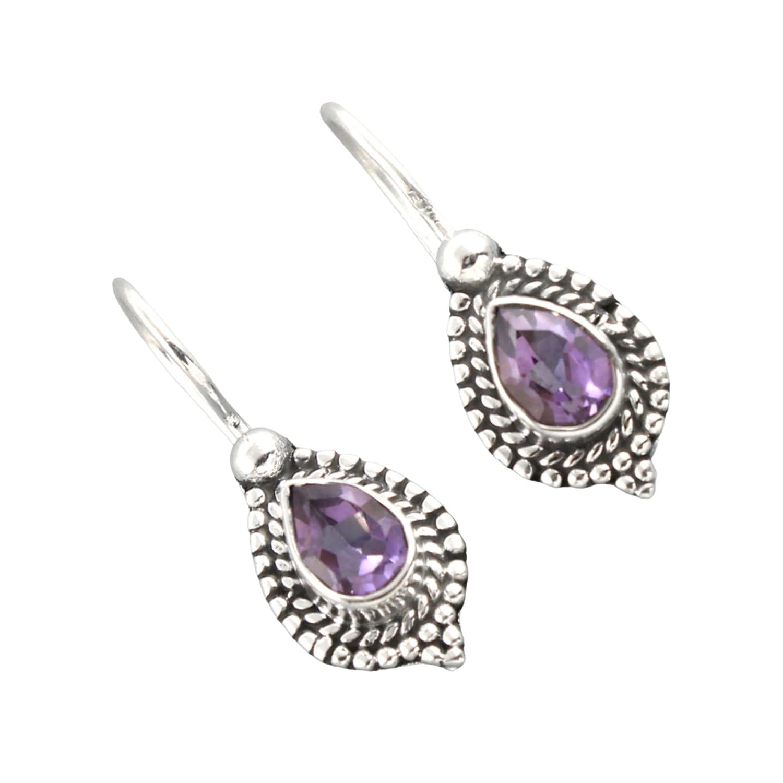 Amethyst Earring Ranking TOP19 Sale special price Sterling Silver Purpl Dangle