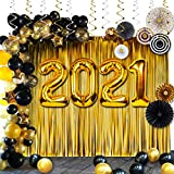 Graduation Party Supplies:40in 2021 Balloons,89Pcs Black and Gold 2021 Graduation Decorations are Perfect for your Grad and New Years Eve Party Decor