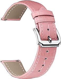 BINLUN Bracelets de Montre en Cuir véritable Femmes Hommes Remplacement Rapide des Bracelets de Montre en Cuir avec Option 12 Couleurs (10mm,12mm,14mm,15mm,16mm, 17mm,18mm,19mm,20mm,21mm,22mm,23mm)
