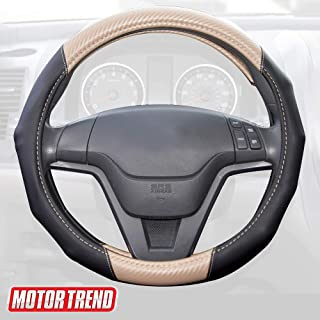 Motor Trend GripDrive Carbon Fiber Steering Wheel Cover – Universal Fit with Microfiber Leather for Steering Wheel Sizes 14.5 15 15.5 inches (Beige)