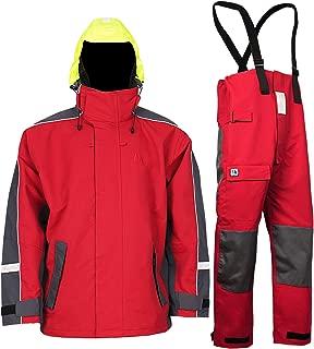 Navis Marine Sailing Jacket with Bib Pants for Men Waterproof Breathable Rain Suit Fishing Foul Weather Gear
