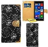 FoneExpert® Nokia Lumia 830 Hülle, Bling Diamant Hülle Wallet Hülle Cover Hüllen Etui Ledertasche Premium Lederhülle Schutzhülle für Nokia Lumia 830 + Bildschirmschutzfolie (Schwarz)
