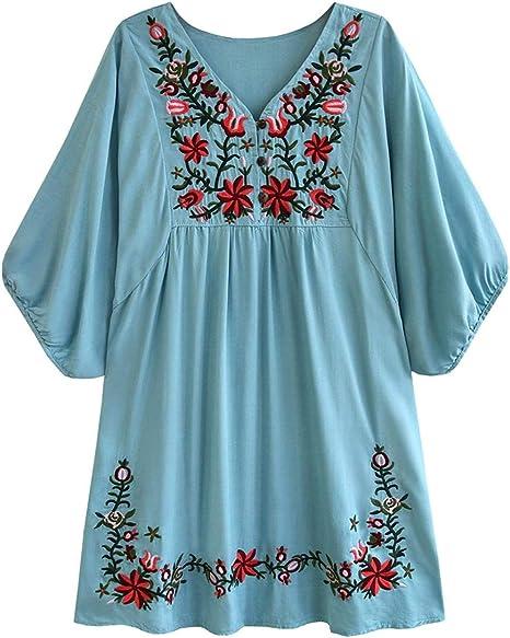 NANA318 Blusa de Mujer Boho Hippie Flores Bordadas ...