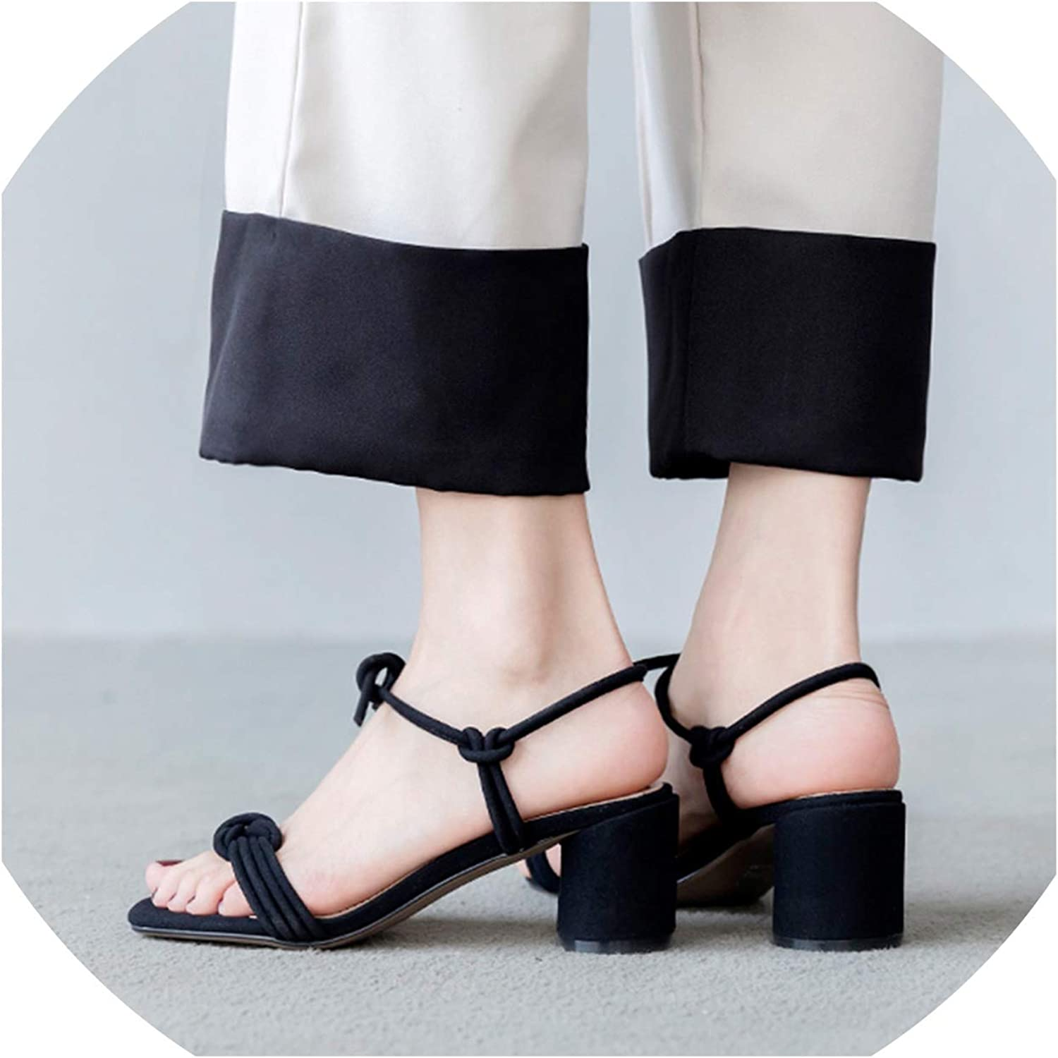 Merry-Heart Sexy Ankle Strap Block Heeled Sandals Chunky Heels Women,