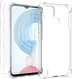 GMUJIAO Fall för Realme C21,Med 2 * Skärmskydd i Härdat Glas [2 i 1],Transparent Mjuk TPU Stötsäker Telefonväska
