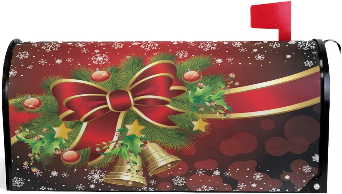 Wamika Christmas 5 ☆ popular Red Bell Snowflake Stand Magnetic Mailbox OFFicial Cover