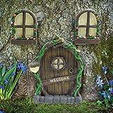 Jardín de Hadas en Miniatura Que Brilla en la Oscuridad Estatuas de árboles de Puertas y Ventanas para Dormir - Trees Huggers Yard, Garden Sculptures Fairy Garden Mystical GNOME Home