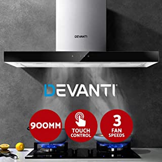 Devanti Range Hood 900mm Rangehood 90cm Stainless Steel Glass Kitchen Canopy Touch Control with Cooking Lights - Black