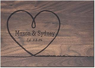 Froolu Big Heart personalized cutting board for wedding for Newly Wed Couples Monogrammed Gifts
