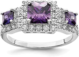 925 Sterling Silver Purple Square Cubic Zirconia Cz Band Ring Fine Jewelry For Women
