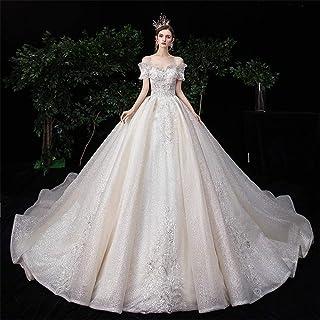 HXiaDyG Vestido de novia para novia con hombros y estrellas, de lujo, para bodas, color fotográfico, talla XXL