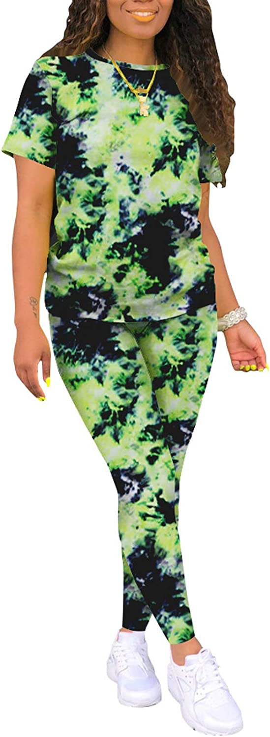 Women Tie Dye Lounge Sets Sexy Bodycon Sweatsuits Tracksuit T-Shirts and Sweatpants 2 Piece Outfits Jogging Suit