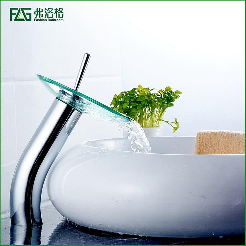 AOEIY Wasserhahn Küchen Mischbatterie Heies und kaltes Wasser des kupfernen Chromglaswasserfalls Waschtischarmaturen Mixer Spültisch Armatur Bad Spülbecken badezimmer Küchenarmatur