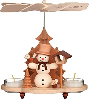 1-tier German Christmas Pyramid - Snowman - 19,5cm / 8 inches - Christian Ulbricht