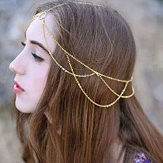 Haloty Boho Layered Head Chain Fashion Hair Chain Jewelry Festival Headpieces Hair Accessories for Women and Girls