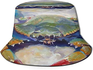 Fisherman Hat Blue Colorful Crab Painting Bucket Hat Unisex 3D Printed Packable Bonnie Cap UV Protect Lightweight Sun Hat for Picnic Hunting Fishing Golf Hiking