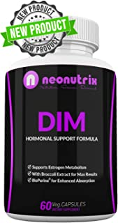 DIM Supplement with Bioperine for Menopause Relief, Hot Flashes & Hormonal Acne Treatment - Estrogen Balance Pills for Women - Infused with Broccoli & Calcium D Glucarate 60 DIM Capsules by Neonutrix