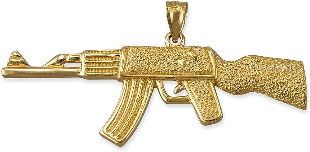 LA BLINGZ 14K Yellow Gold AK-47 Rifle Gun Pendant