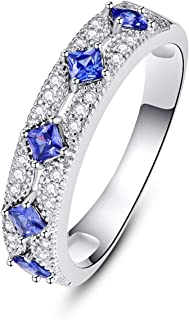 Anniversary Rings for Women September Birthstone Princess Cut Created Blue Sapphire CZ Birthday Gift for Her Size 8